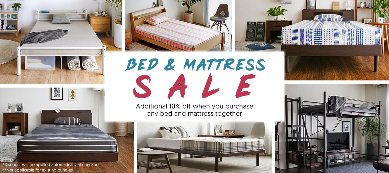 Bed and Mattress Bundle Sale! Additional 10% off when you purchase any bed and mattress.