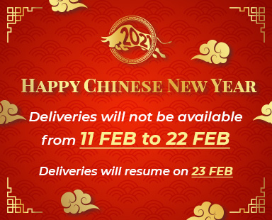 Deliveries not available from 11 Feb to 22 Feb
