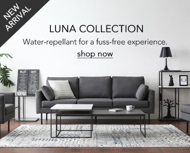 The new Luna Sofa collection. Water-repellant for a fuss-free experience.