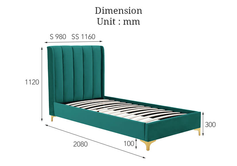 Dimensions of the single and super single bed frame