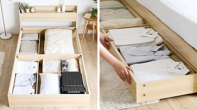 Stay organised with the built-in drawers at both sides of the bed. Providing you with large under bed storage capacity, you can easily eliminate the need for additional storage units. Enjoy a more spacious bedroom with this bed frame.