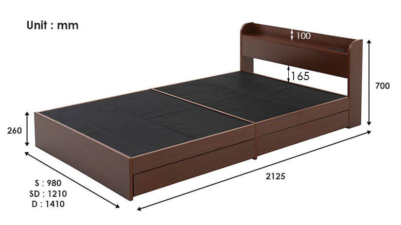 dimensions of the Aube storage bed frame.