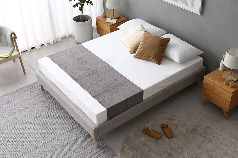 Soft, neutral tone. Reflects light to create an airy and open atmosphere. Sleep on cloud nine on the Grey Velvet upholstery.
