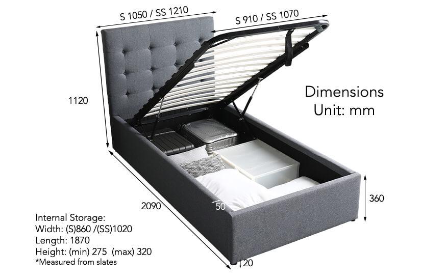 Maximum weight capacity of bedframe- 120 Kg (Single and Super Single sizes)