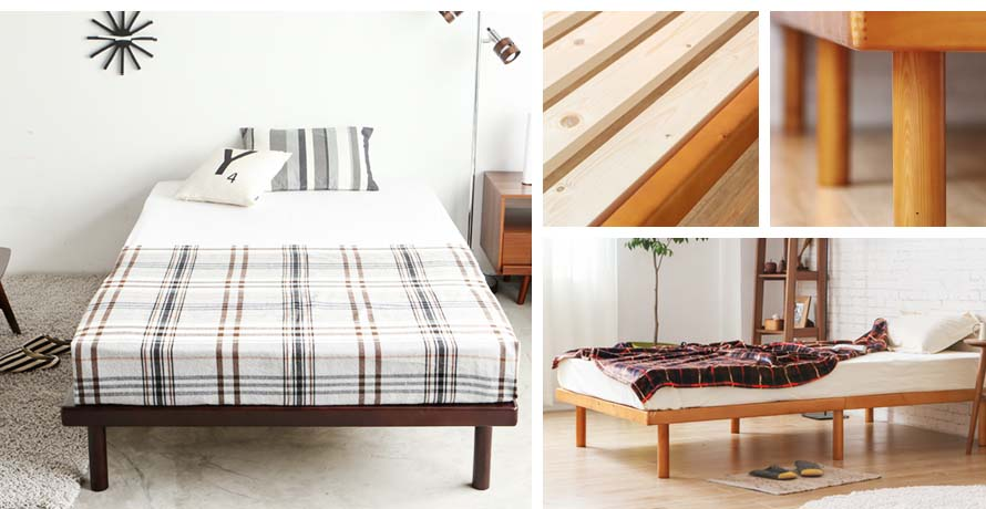 The Cuenca Japanese Bed in different angles and closeup shots of the legs and bed base.