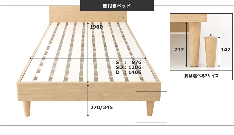 The cross-sectional bed measurements and solid wood leg height.