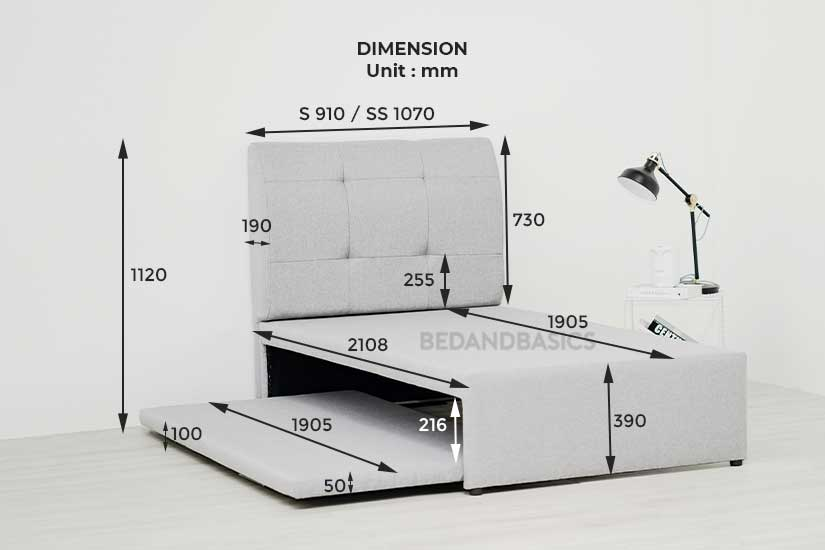 dimensions of the holmvam pull-out bed