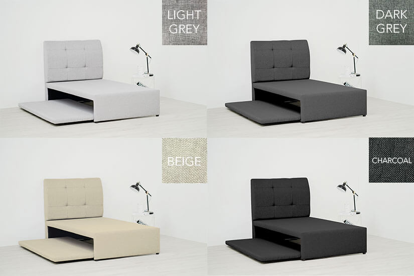 Light grey, dark grey, beige charcoal color pull-out beds
