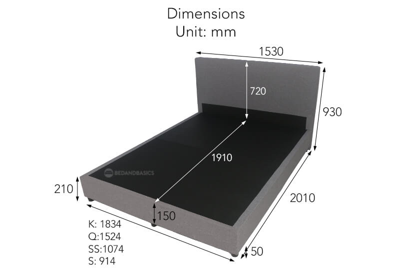 Max laden weight up to 100kg (Single/ Super Single) and up to 200kg (Queen/King). Suitable For Mattress Height between 20 - 30cm.