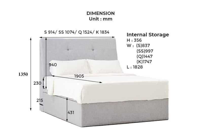 Dimensions of Holmvam Storage Bed