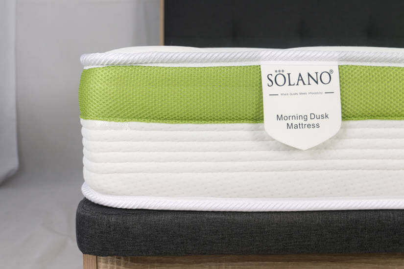 9.05cm tall in height, The Solano Morning Dusk Mattress is anti-dust mite, anti-bacterial and anti-fungal.