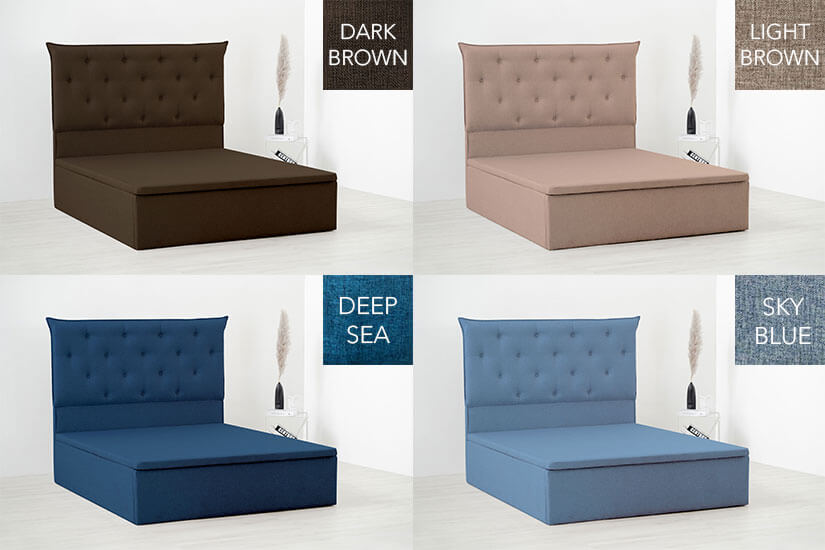 Deep sea, sky blue, dark brown and light brown