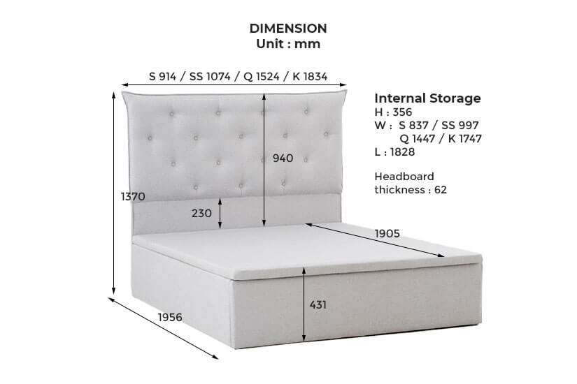 The dimensions of the littke storage bed frame.
