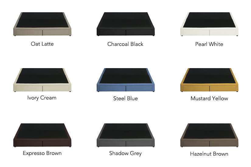 The Leroy Storage Faux Leather Divan is available in nine colours.