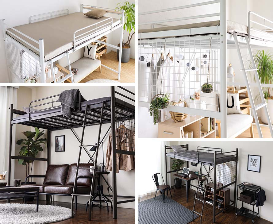 A collage of Linie ladder loft bed in white and black color