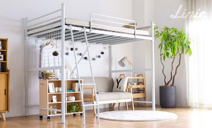 The Linie white metal loft bed is beatiful and minimalist
