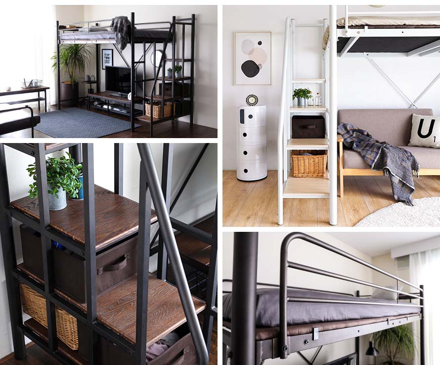 A collage of photos of the Linie Loft Bed