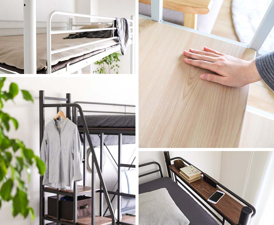 Collage of photos. Hang your clothes, charge your phone with the Linie Bed
