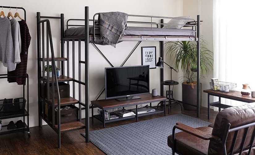 Transform the space under your loft bed into a home office or entertainment lounge. Great for small bedrooms.