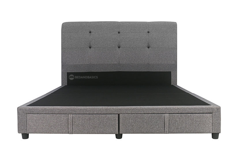 The Lois Fabric Storage Bed Frame is a no-nonsense straightforward upholstered fabric bed frame supported by sturdy black plastic legs.