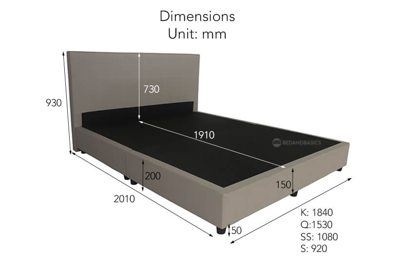 The dimensions of the Mia Faux leather bed Frame.