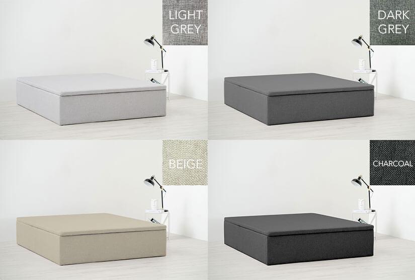 Light grey, dark grey, beige and charcoal color Traken storage bed frames