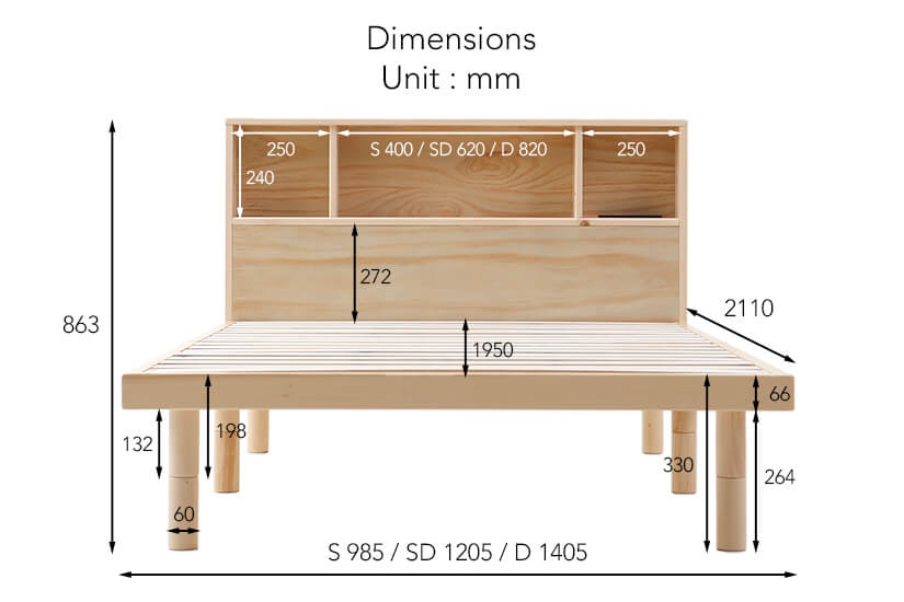 The dimensions of the Cuenca Bed Frame with Headboard.